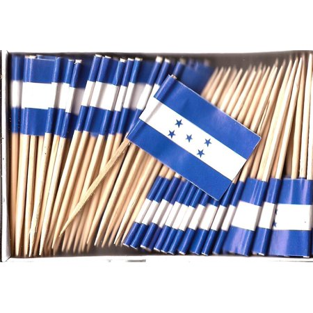 One Box Honduras Toothpick Flags, 100 Small Honduran Cupcake Flag Toothpicks or Cocktail Picks - Flag Picks