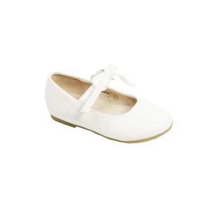 Pazitos Girls Ivory Removable Satin Bow Ballerina Mary Jane Shoes