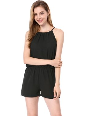 Women's Open Back Elastic Waist Halter Rompers Black (Size S / 4)