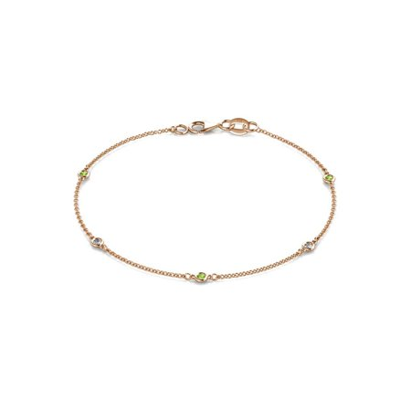 Holiday Offer - 5 Stone Petite Peridot and Lab Grown Diamond Womens Station Bracelet (VS2-SI1, G-H) 0.17 ctw 14K Rose