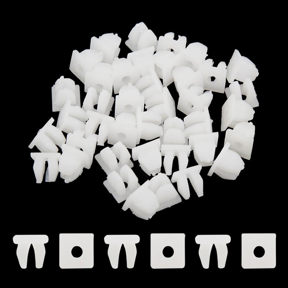 40 Pcs White Auto Door Plastic Rivet Fastener Retainer Clip for 9mmx 8mm Hole - image 1 of 2