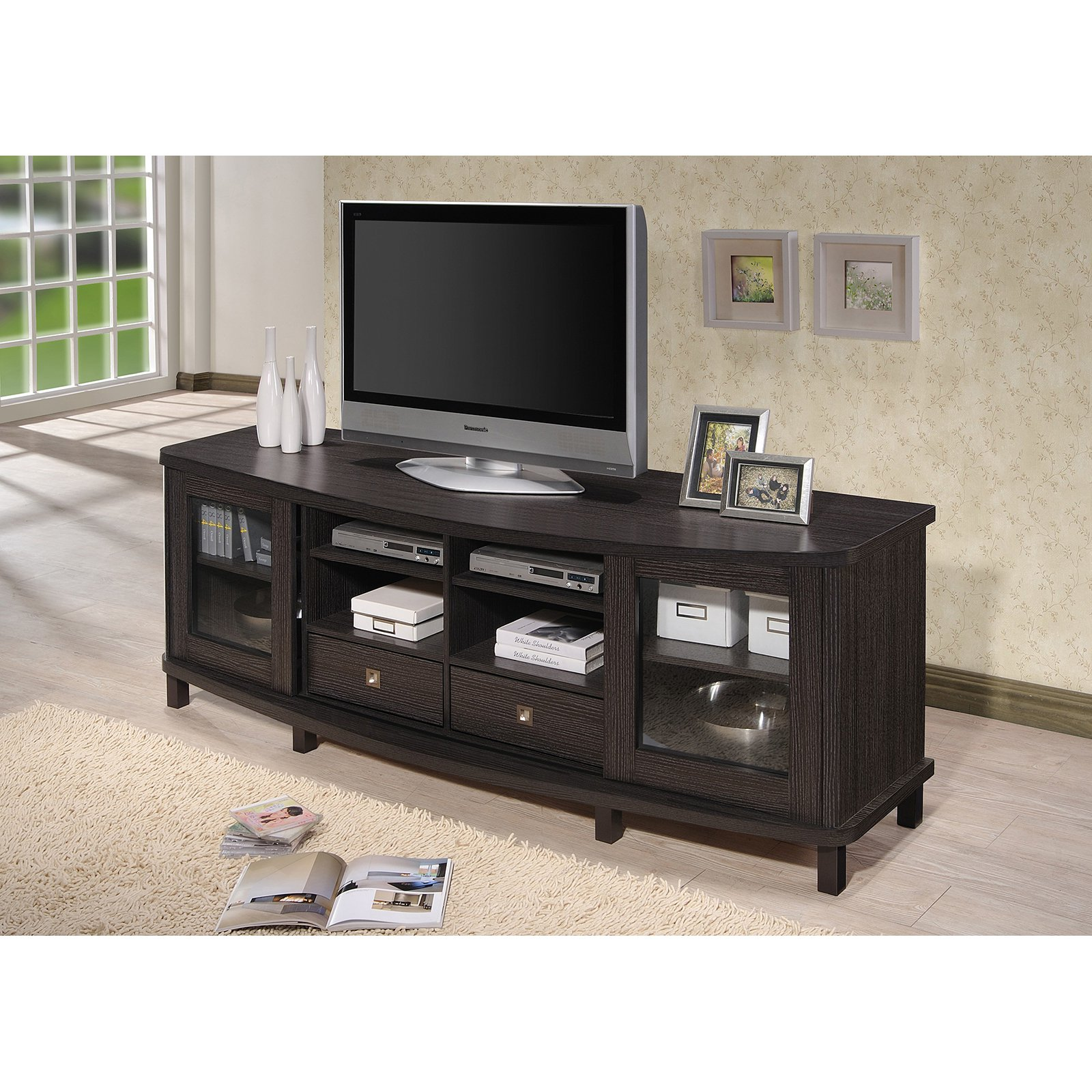 Baxton Studio Walda 70-Inch Dark Brown Wood TV Cabinet with 2 Sliding Doors and 2 Drawers