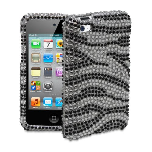 Bling/Crystal Case for Apple iPod Touch 4th Generation - Zebra Design (Black/Silver)