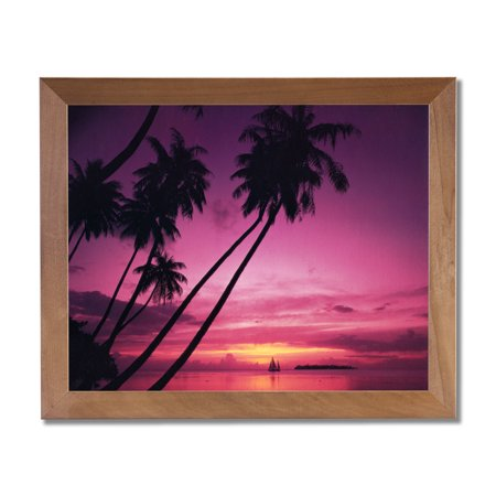 Hawaiian Ocean Beach Palm Tree Landscape Wall Picture Honey Framed Art Print