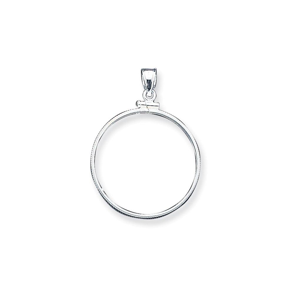 Sterling Silver 30.5 x 2.1mm 0.5 Plain Coin Bezel Pendant