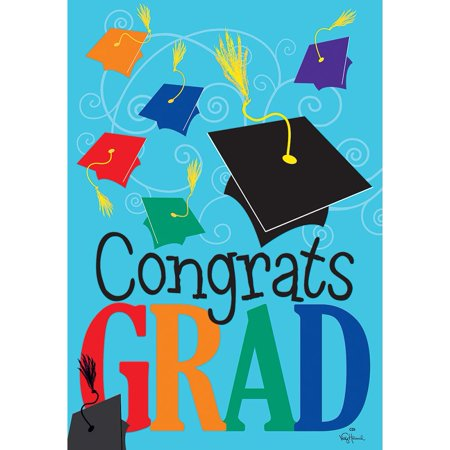 Custom Decor Garden Flag - Congrats Grad - Graduation Garden Flag