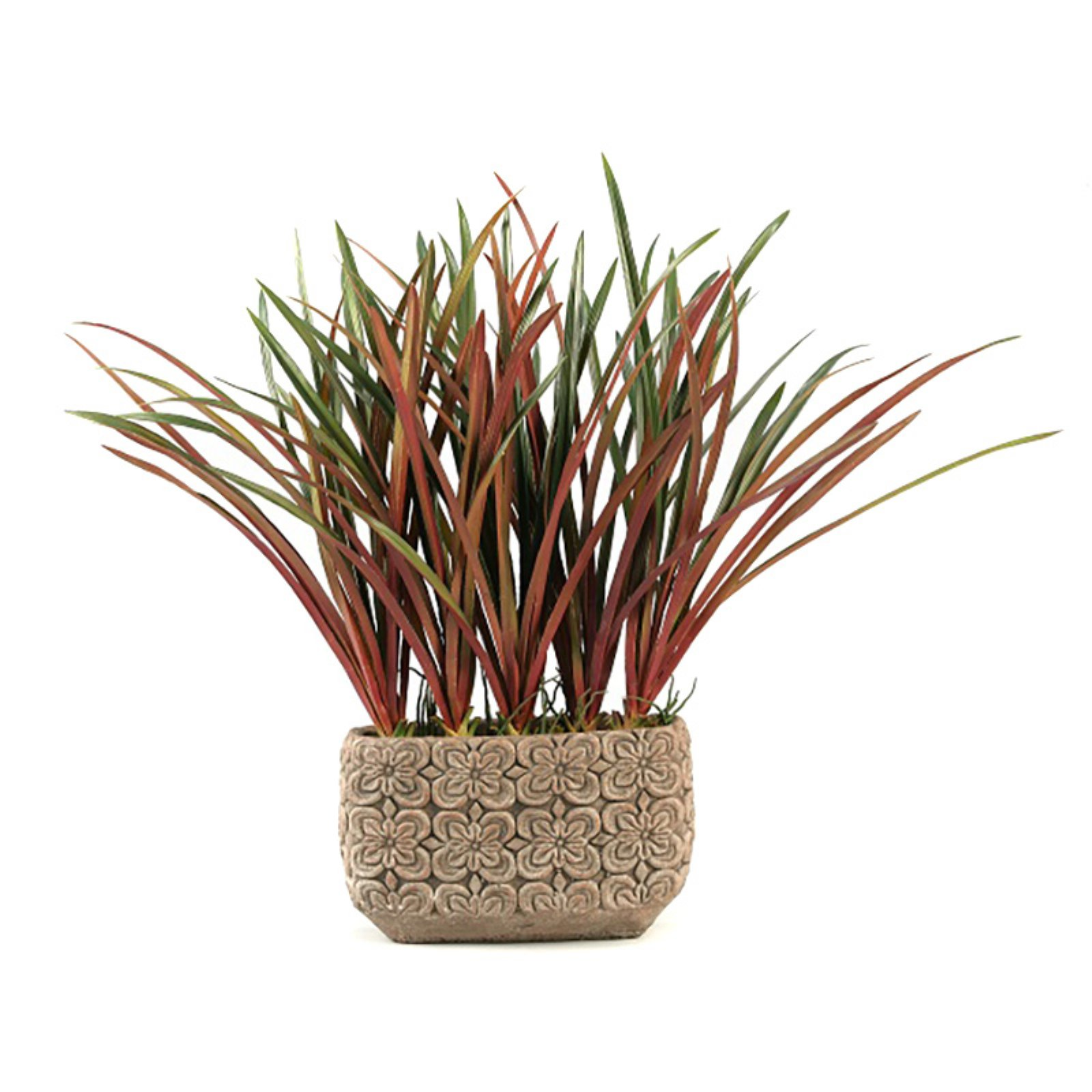 D&W Silks Burgundy and Green Areca Grass in Rectangle Ceramic Planter