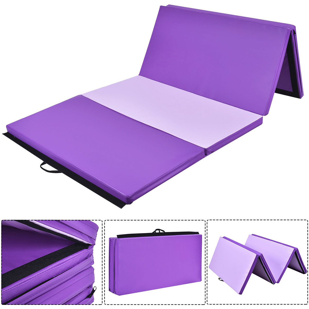 Costway 4'x8'x2'' Gymnastics Mat Thick Folding Panel Gym Fitness Exercise Mat Purple/Pink