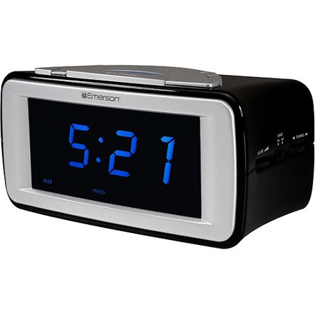 emerson smartset dual alarm am fm clock radio with. Black Bedroom Furniture Sets. Home Design Ideas