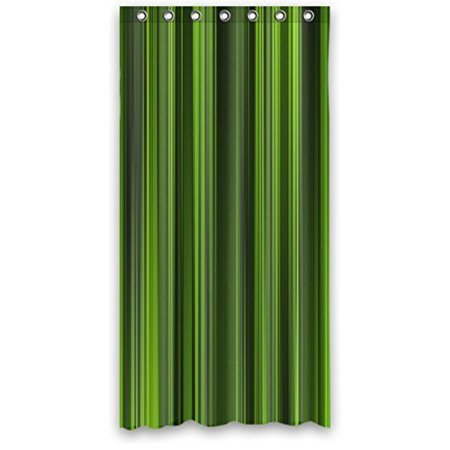 GreenDecor Awesome Stripes In Lime Green Kelly Olive Waterproof Shower Curtain Set with Hooks Bathroom Accessories Size 60x72 inches