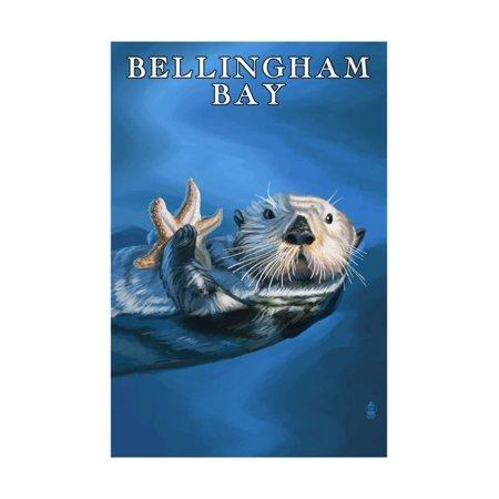 Washington Set - Bellingham Bay, Washington - Sea Otter with Starfish Print Wall Art By Lantern Press