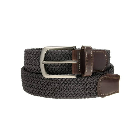 Braided Belt Unisex Silver Nickel Finish Buckle Faux Leather Elastic Woven Stretch Mens Womens Dress Braided Edge Leather Belt