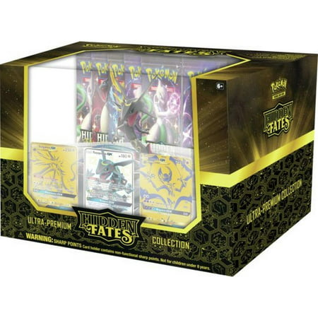 Pokemon SM11.5 Ultra Premium Collection Hidden Fates Box- 3 full-art foil cards of Shiny Rayquaza-GX, Solgaleo-GX and Lunala-GX