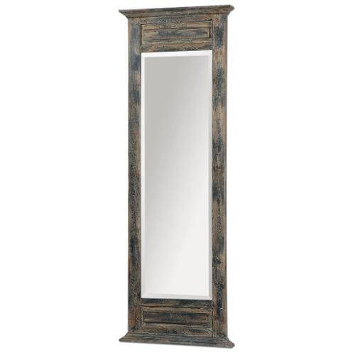 "71"" Oversized Rustic Slate Blue Wood Framed Beveled Rectangular Wall Mirror"