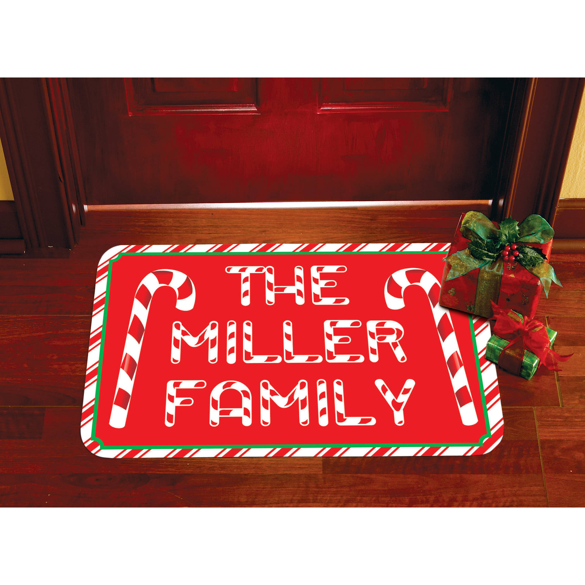 Personalized Candy Cane Doormat