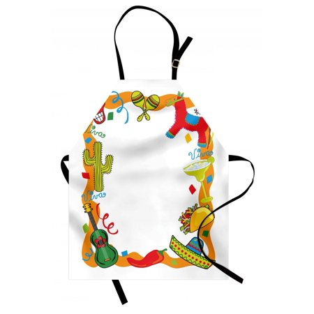 Fiesta Apron Cartoon Drawing Style Mexican Pinata Taco Chili Pepper Sugar Skull Pattern Guitar, Unisex Kitchen Bib Apron with Adjustable Neck for Cooking Baking Gardening, Multicolor, by - Taco Pinata
