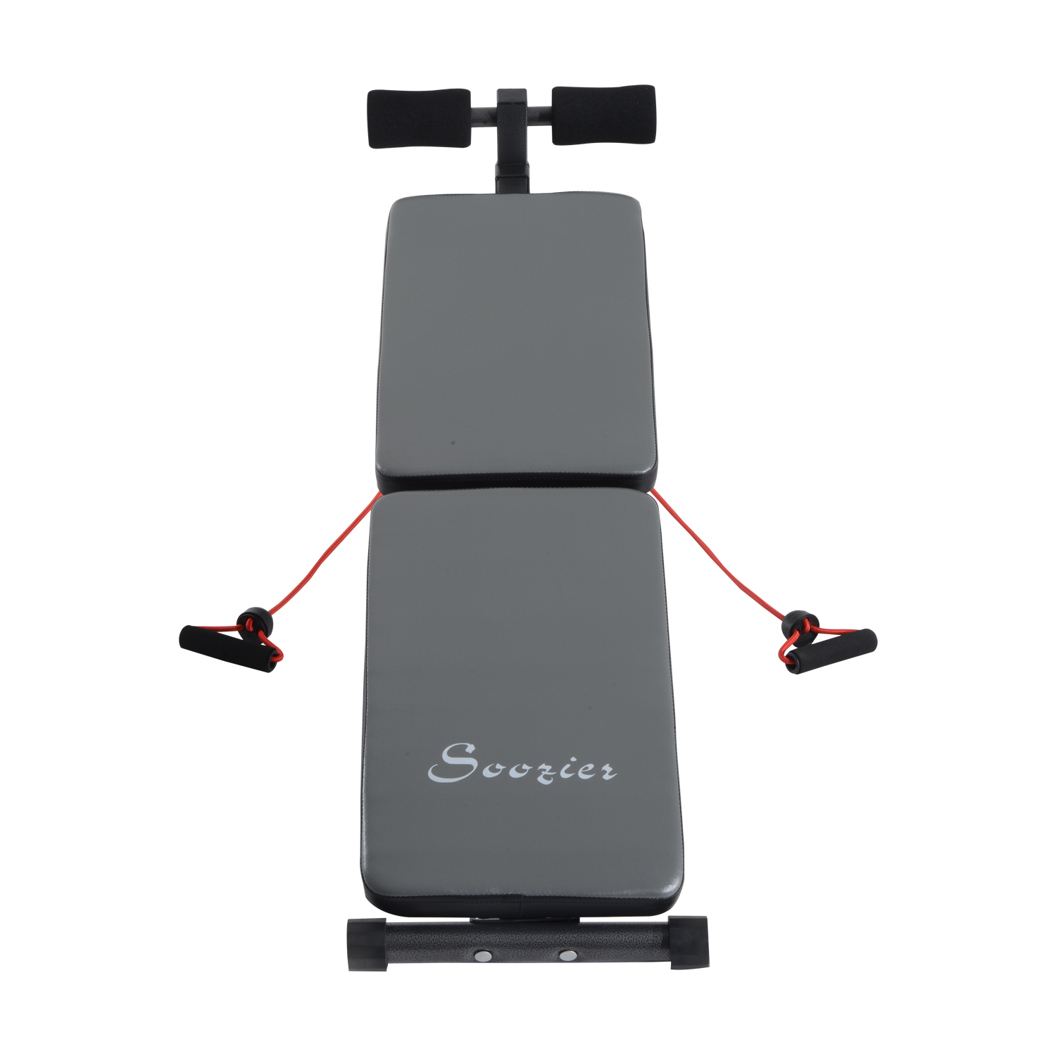 Soozier Adjustable Folding Ab Decline Sit Up Bench With Resistance Bands - Gray and Black, power rack bench combo,marcy folding weight bench,weight bench with leg attachment