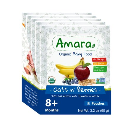 Image of Amara Stage 2 Oats n Berries, Organic Baby Food Better for Baby, Easy for You. (Pack of 5)