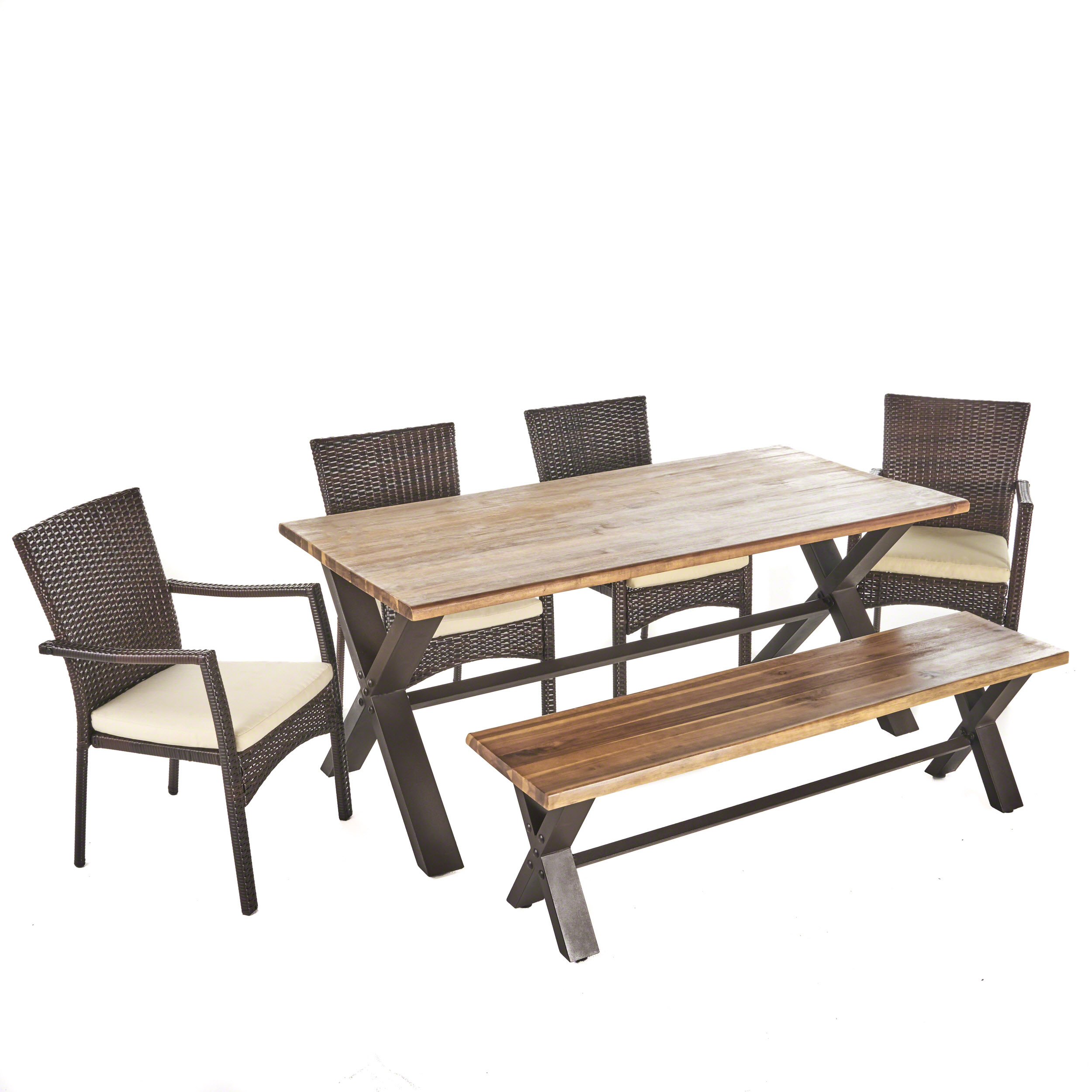 Brassel Outdoor 6 Piece Acacia Wood Dining Set with Wicker Dining Chairs and Water Resistant Cushions, Teak Finish