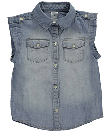 """Little Girls' Toddler """"Pearly Chambray"""" Top - light blue, 4-Toddler"""