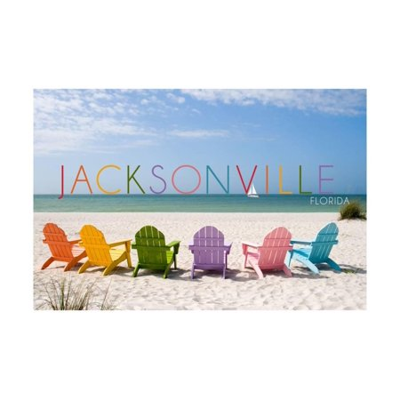 Jacksonville, Florida - Colorful Beach Chairs Print Wall Art By Lantern Press (Halloween Jacksonville Florida)