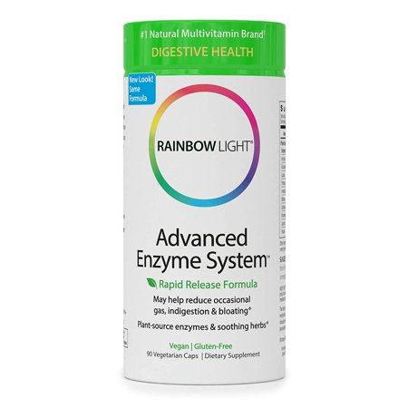 Rainbow Light - Advanced Enzyme System - Plant-Sourced Whole Food Enzyme Supplement, Supports Nutrient Absorption and Digestive Health; Vegan and Gluten-Free - 90 (Best Food Digestive Enzymes)