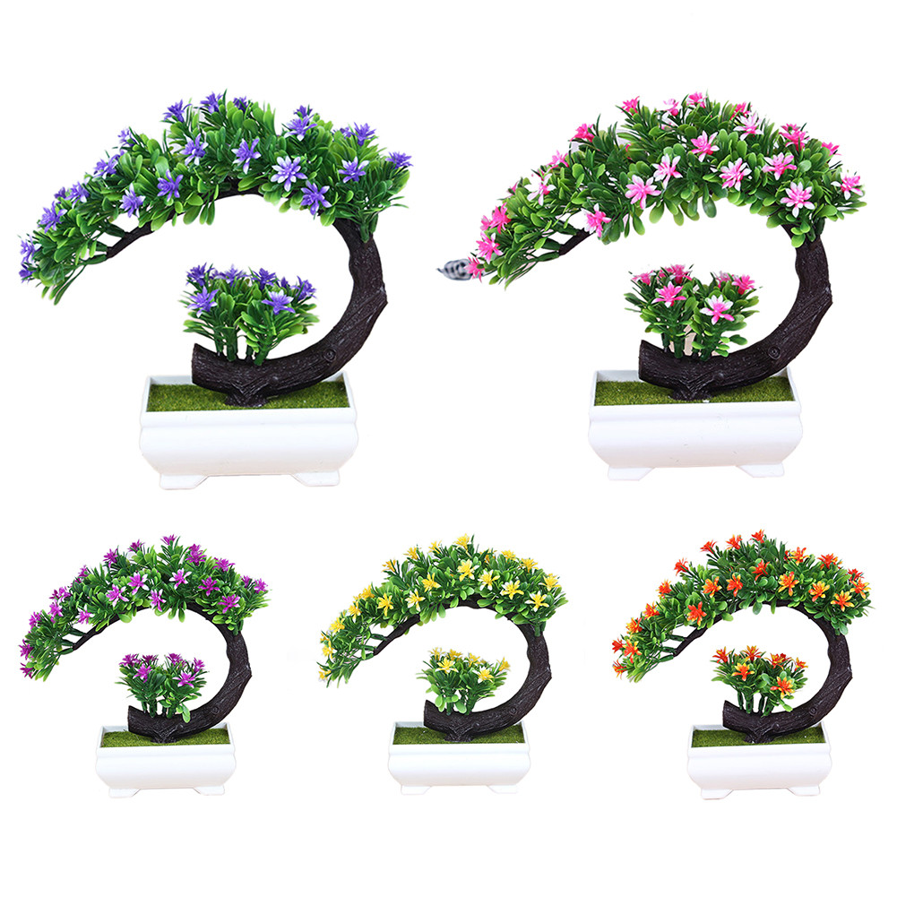 Artificial Bonsai Tree, Faux Potted Plant w/ Flowers for Office Home Desks and Tables Decorations