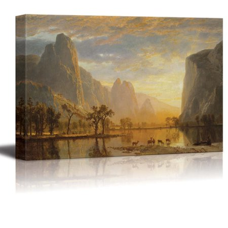 wall26 Valley The Yosemite Albert Bierstadt - Canvas Print Wall Art Famous Painting Reproduction - 32' x 48