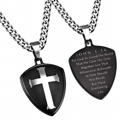 "Necklace-Black R2 Shield Cross (John 3:16) (24"")"