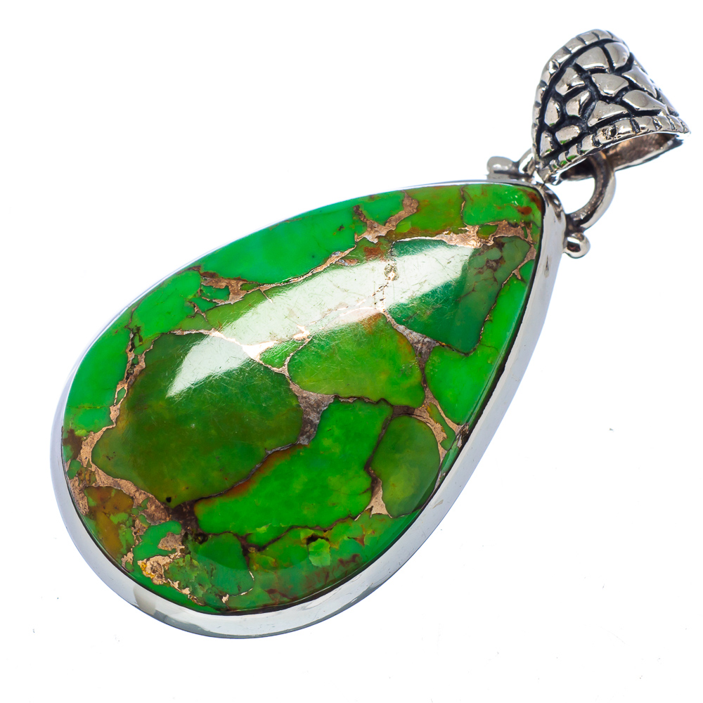 "Ana Silver Co Green Copper Composite Turquoise 925 Sterling Silver Pendant 1 5/8"" PD549424"