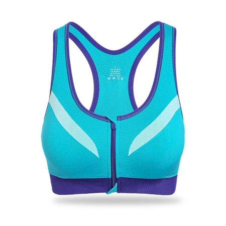 (Fashionyard Women Fitness Sports Yoga Tank Top Bra Lady Workout Racerback Front Zipper Bras Workout Stretch Underwears Wireless Bras)