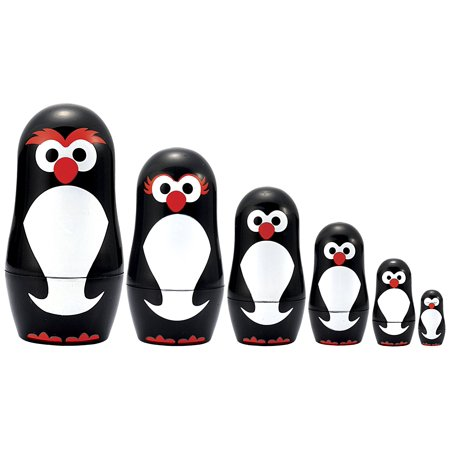 Micro-Penguin Matryoshka, Micro sized miniature Nesting Doll set By Matryoshka Madness Ship from US