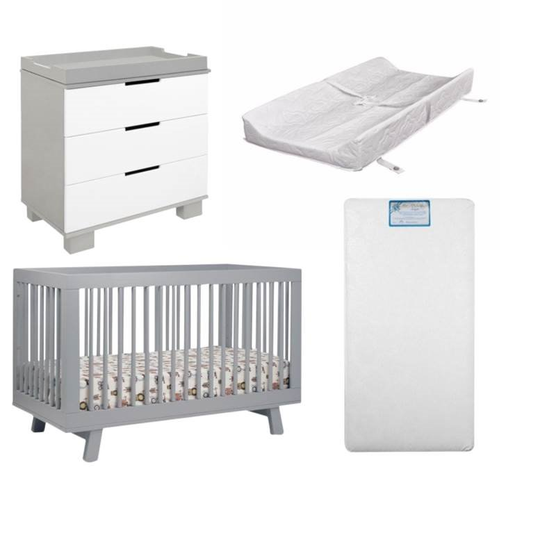 4 Piece Nursery Furniture Set with Changer and Crib with Padding in Gray & White by Home Square