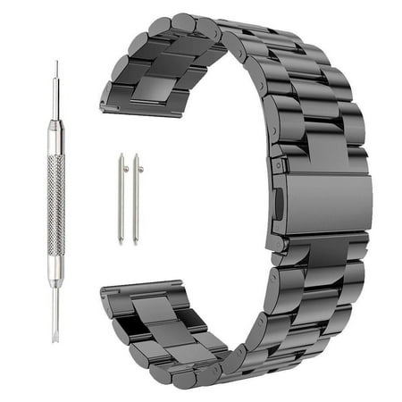 Stainless Steel Folding Clasp - Stainless Steel Metal Watch Band Replacement, Quick Release Folding Clasp Solid Stainless Steel Watch band Strap For Men's Women's Watch (18mm-Black)