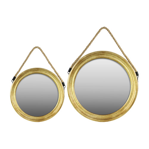 2-Pc Round Mirror with Rope Hanger in Natural Finish by Urban Trends Collection