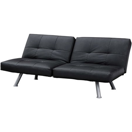 Mainstays Contempo Futon Sofa Bed Black Faux Leather