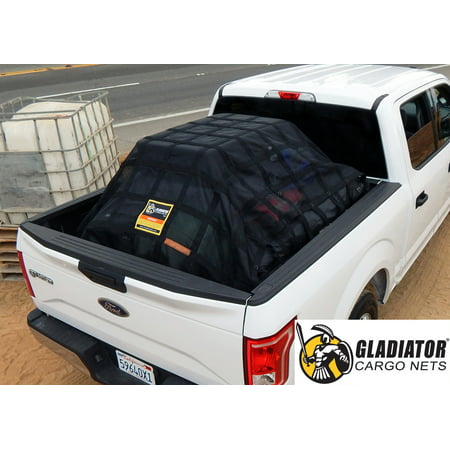 Gladiator Cargo Net: Heavy-Duty Truck Cargo Net, Adjustable, Certified, Attacehmnt Straps Included.