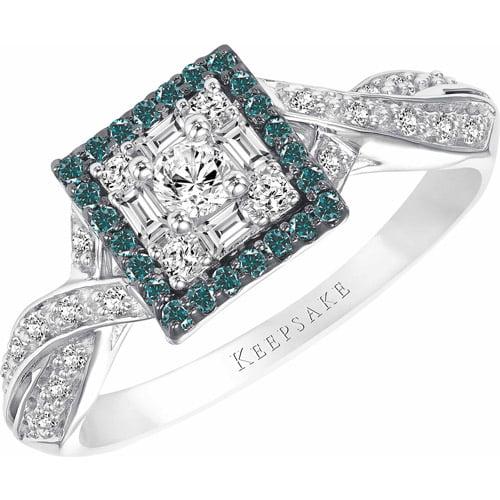 Keepsake Azura 3/8 Carat T.W. Blue and White Princess Diamond Sterling Silver Engagement Ring
