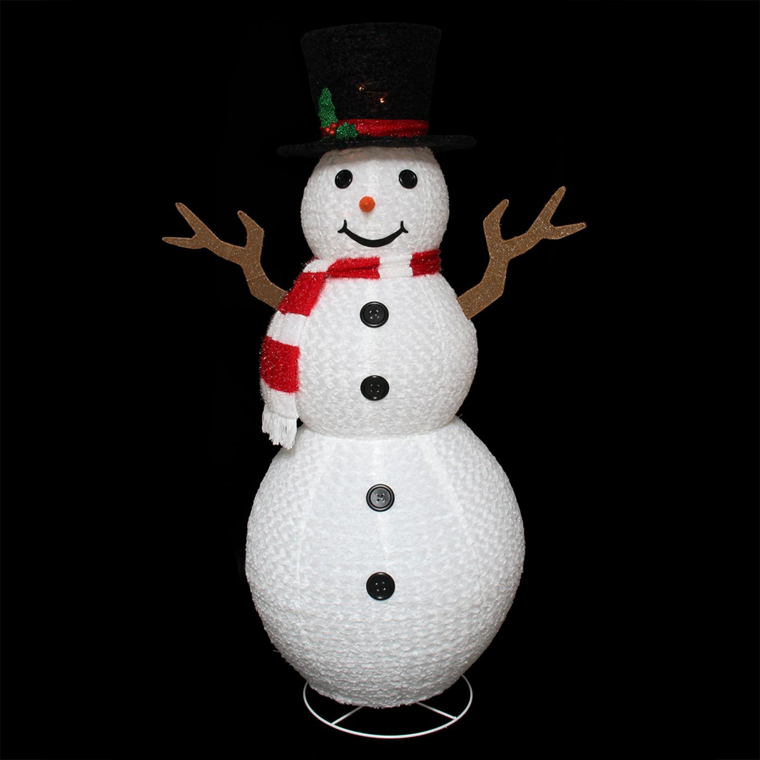 72 pre lit outdoor chenille swirl large snowman w top hat christmas yard art decoration walmartcom