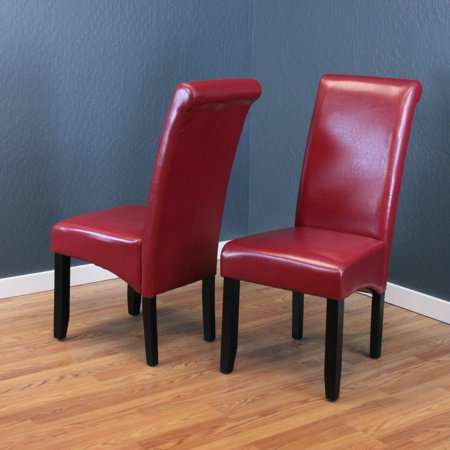 Milan Faux Leather Red Dining Chairs (Set of 2) ()