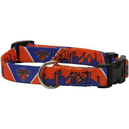 NBA New York Knicks Adjustable Dog Collar - Royal Blue-Orange (Large)