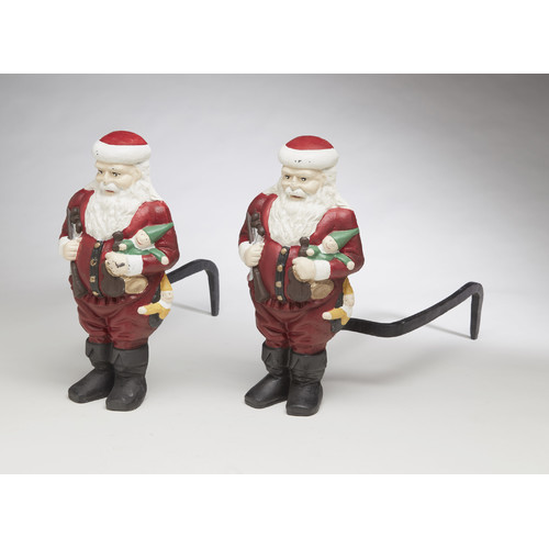 AA Importing Santa Claus Andirons Figurine  (Set of 2)