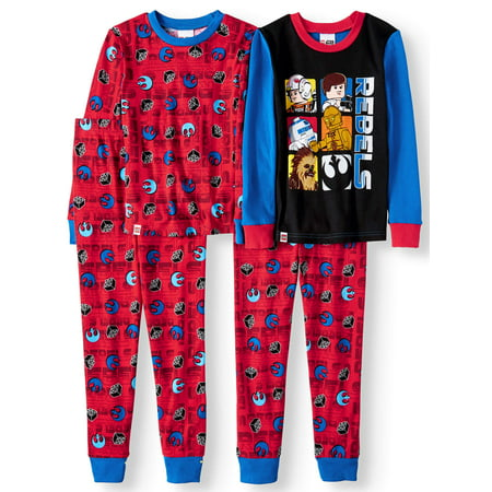 Lego Star Wars Glow in the Dark Fitted Rebel 4 Piece Pajama Sleep Set (Big Boy & Little - Glow In The Dark Rave Wear