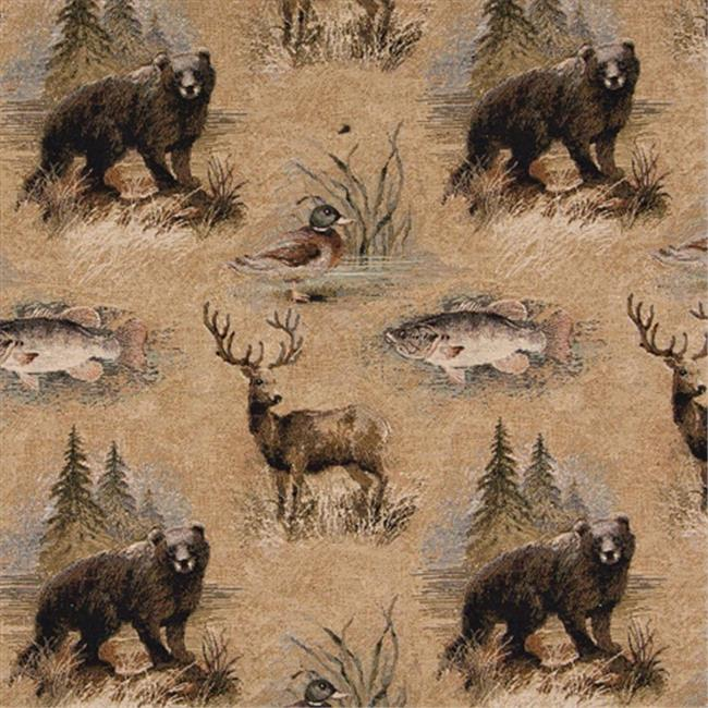 Designer Fabrics A026 54 in. Wide , Bears, Fish, Ducks, Deer And Trees, Themed Tapestry Upholstery Fabric