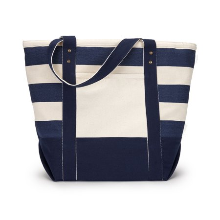 A Product of Gemline Seaside Zippered Cotton Tote - NAVY/ BLUE STRPE - OS [Saving and Discount on bulk, Code Christo] - Ting Discount Code
