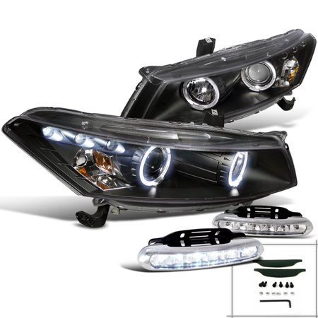 Spec-D Tuning For 2008-2012 Honda Accord Jdm Black Led Projector Headlights + Led Bumper Fog Lamps (Left+Right) 2008 2009 2010 2011 2012