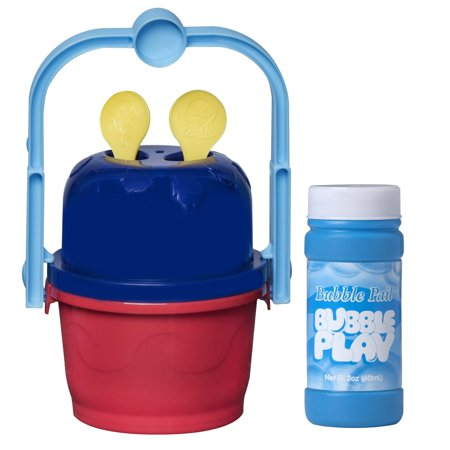 Bubble Play Jumbo Bubble Bucket - No Spill Pail for Kids w/ [2] Removable Bubble Blower Wands, Easy Carry Handle & 2oz Soap Solution Refill Bottle - Safe, Non Toxic Fun for Birthday Party & More