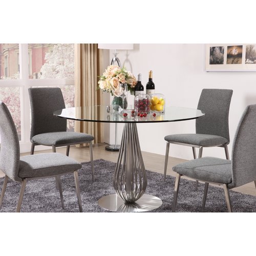 Hokku Designs 5 Piece Round Glass Dining Room Set by
