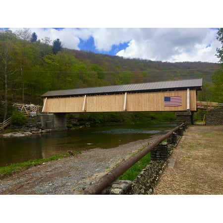 Canvas Print Ny Beaverkill Covered Bridge Livingston Manor Stretched Canvas 10 x (10 Livingston)