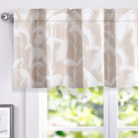 . DriftAway Palm Leaves Lined Thermal Insulated Energy Saving Window Curtain  Valance for Living Room  2 Layer  Rod Pocket  52 x18  2 Header  Beige and